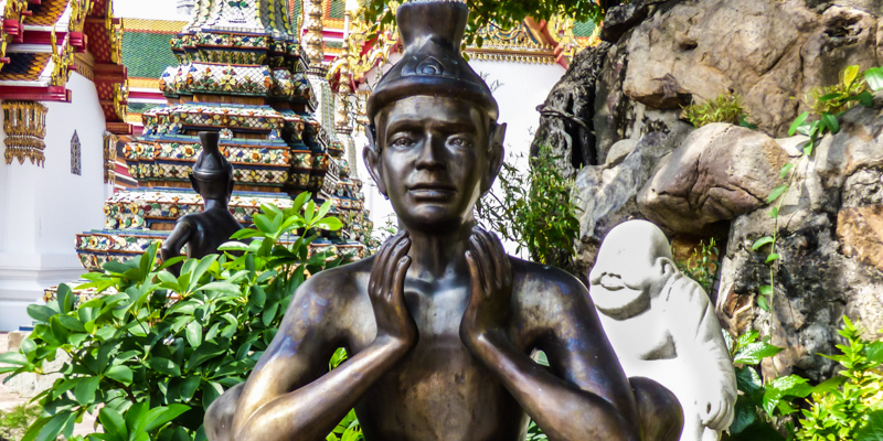 Reusi Datton statue at Wat Pho temple grounds in Bangkok