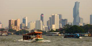 Boats and Bangkok's skyline