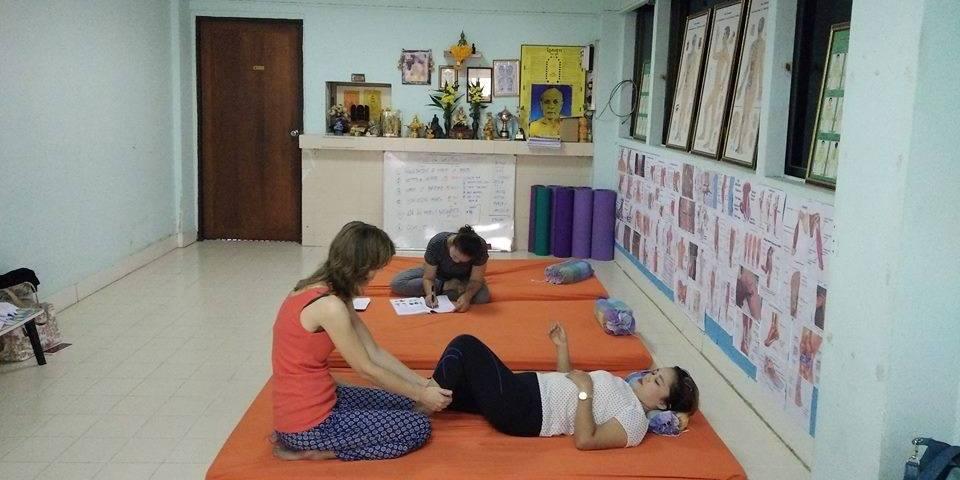 Practicing at the Thai Yoga Massage School Bangkok