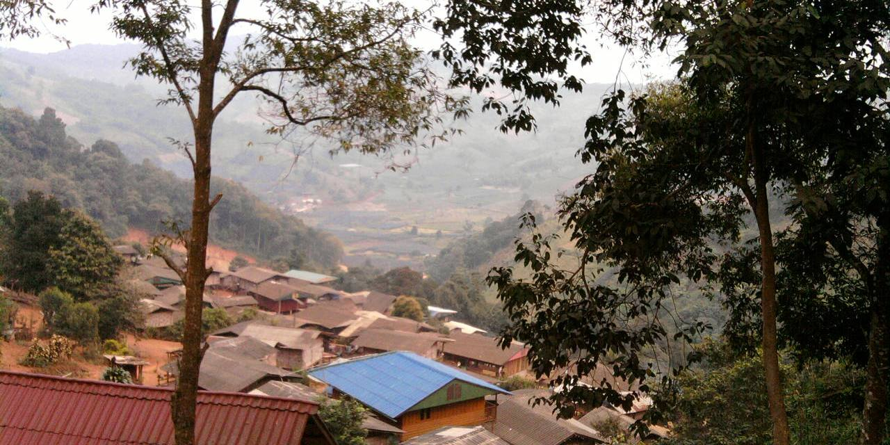 View over the village from the surrounding mountains