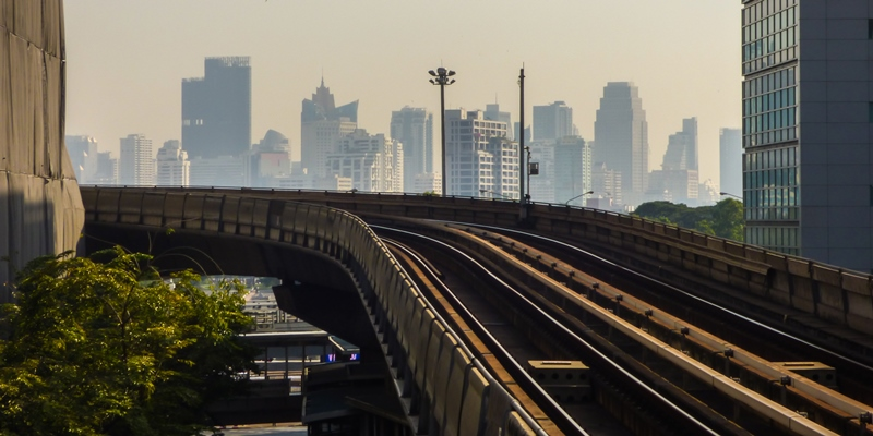 Sky train tracks and skyscrapers in Bangkok